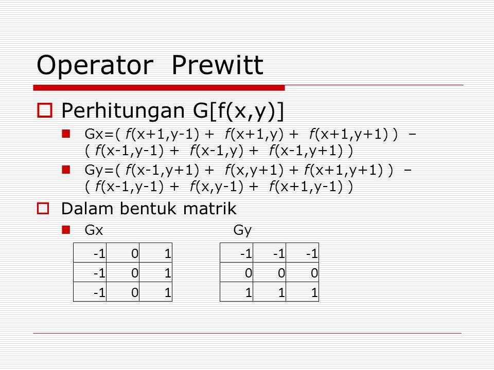 Operator Prewitt Perhitungan G[f(x,y)] Dalam bentuk matrik -1 1 -1 1
